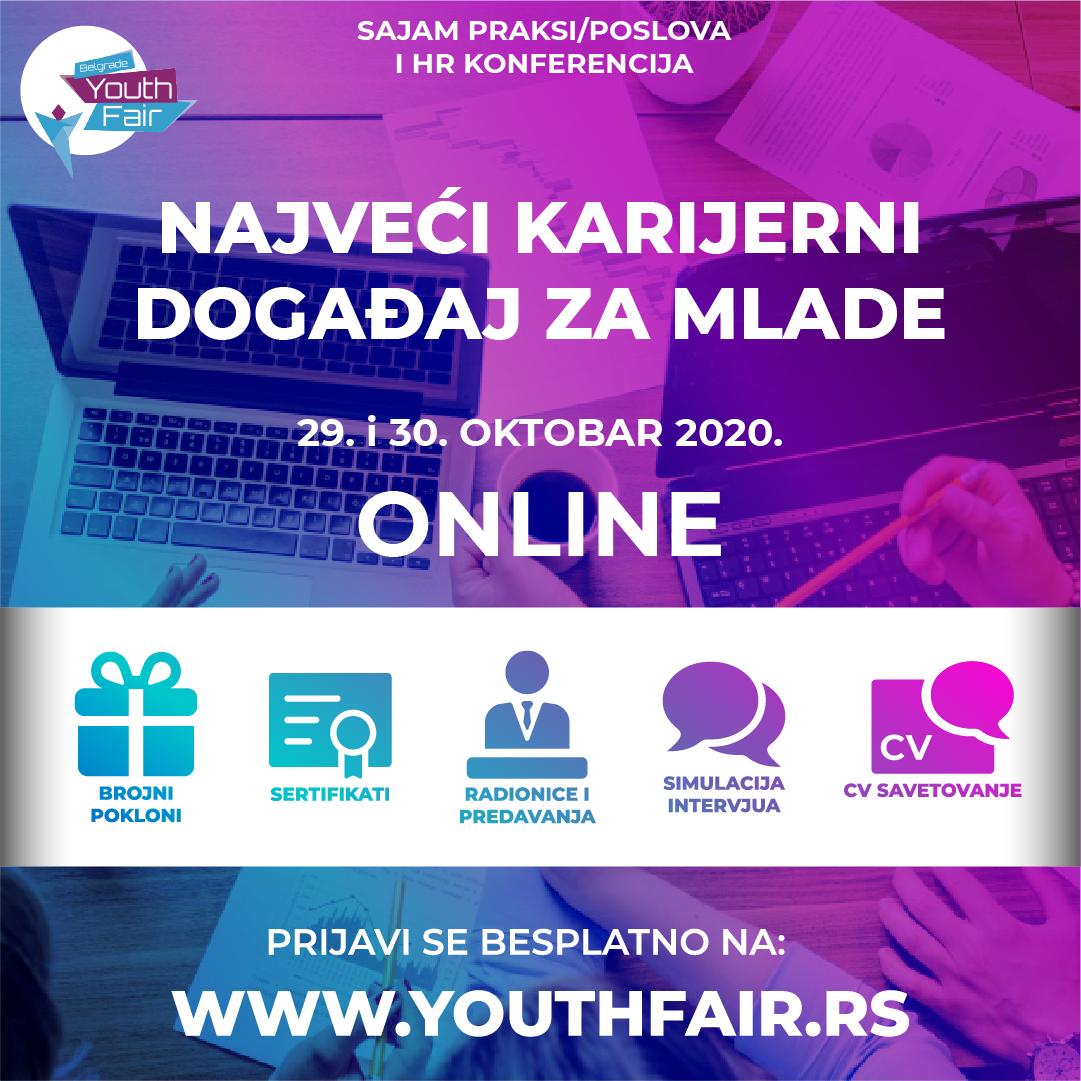 Belgrade Youth Fair 2020 –  29. I 30. Oktobra Održaće Se Najveći Online Karijerni Događaj Za Mlade U Regionu