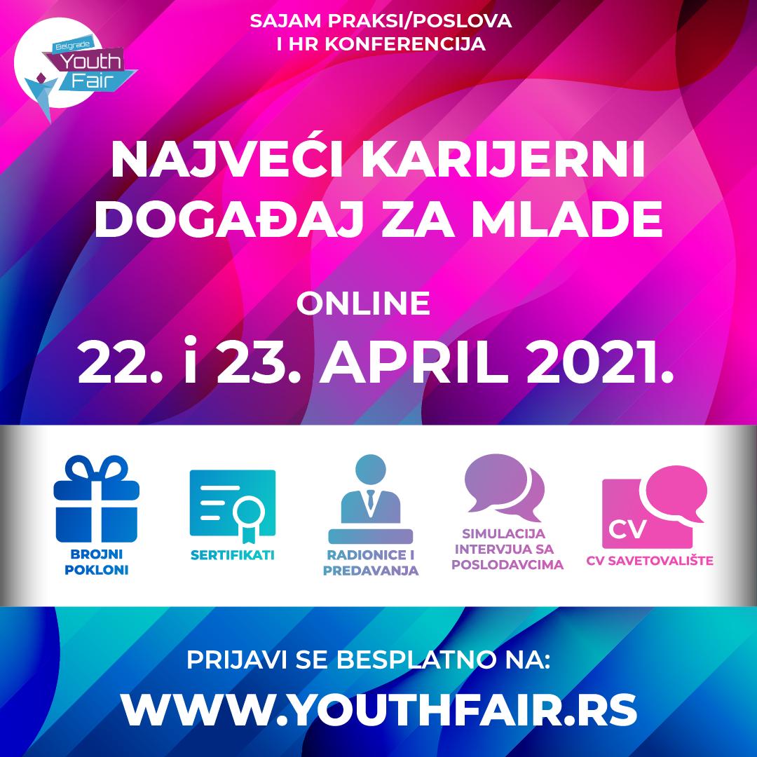 Belgrade Youth Fair 2021 – 22. I 23. Aprila Održaće Se Najveći Online Karijerni Događaj Za Mlade U Regionu